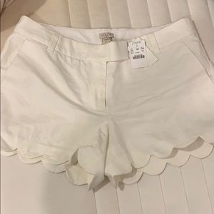 J. Crew white scallop shorts size 10